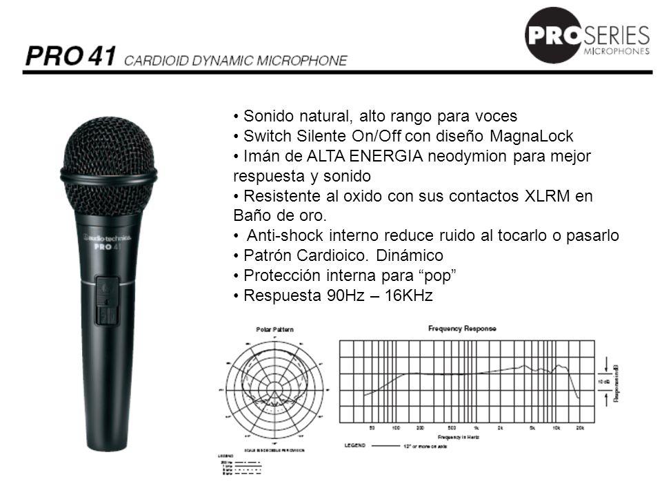 Sonido natural, alto rango para voces Switch Silente On/Off con diseño MagnaLock Imán de ALTA ENERGIA neodymion para mejor respuesta Resistente al oxido con sus contactos XLRM en oro.