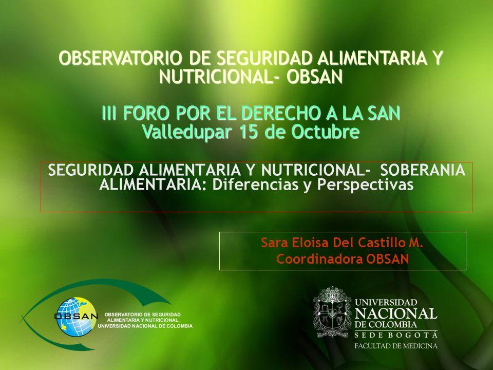 SEGURIDAD ALIMENTARIA Y NUTRICIONAL- SOBERANIA ALIMENTARIA: Diferencias y Perspectivas OBSERVATORIO DE SEGURIDAD ALIMENTARIA Y NUTRICIONAL- OBSAN III