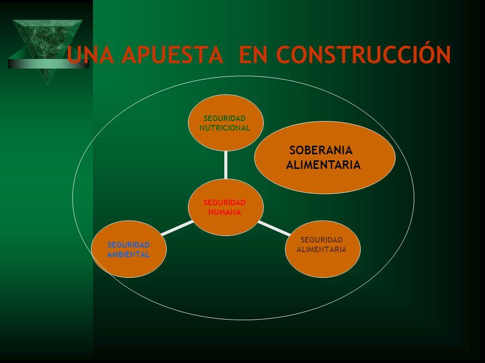 UNA APUESTA EN CONSTRUCCIÓN SEGURIDAD HUMANA SEGURIDAD NUTRICIONAL SEGURIDAD ALIMENTARIA SEGURIDAD AMBIENTAL SOBERANIA ALIMENTARIA