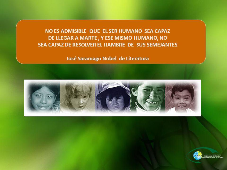 NO ES ADMISIBLE QUE EL SER HUMANO SEA CAPAZ DE LLEGAR A MARTE, Y ESE MISMO HUMANO, NO SEA CAPAZ DE RESOLVER EL HAMBRE DE SUS SEMEJANTES José Saramago