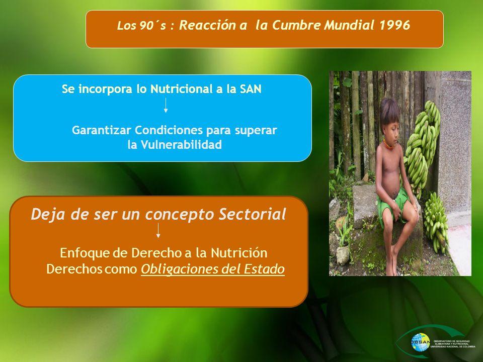 Los 90´s : Reacción a la Cumbre Mundial 1996 Se incorpora lo Nutricional a la SAN Deja de ser un concepto Sectorial Garantizar Condiciones para supera