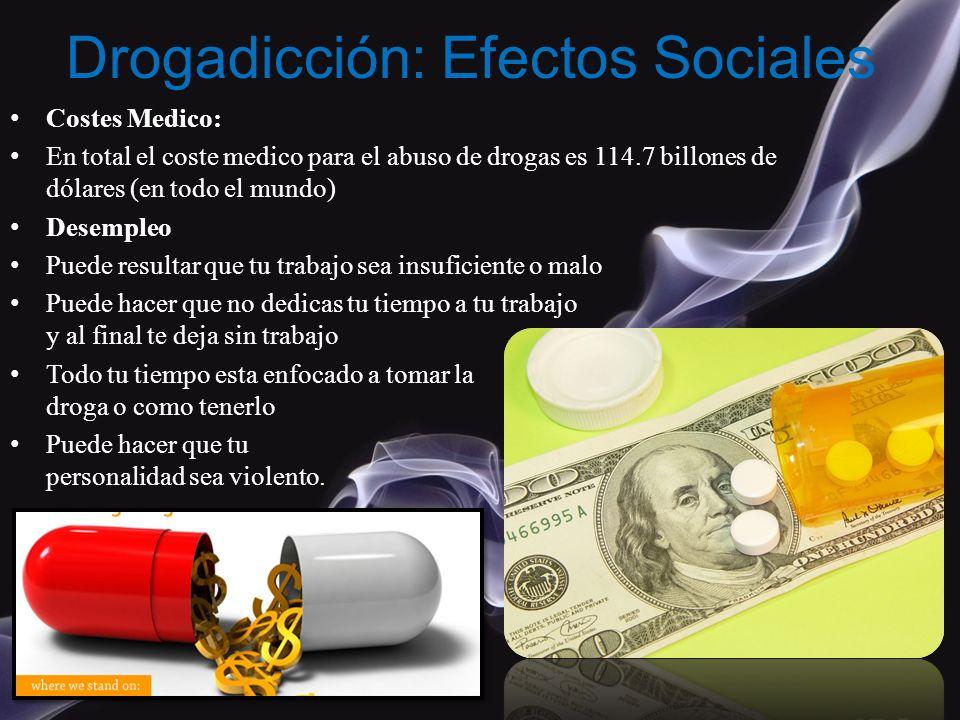 Costes Medico: En total el coste medico para el abuso de drogas es 114.7 billones de dólares (en todo el mundo) Desempleo Puede resultar que tu trabaj
