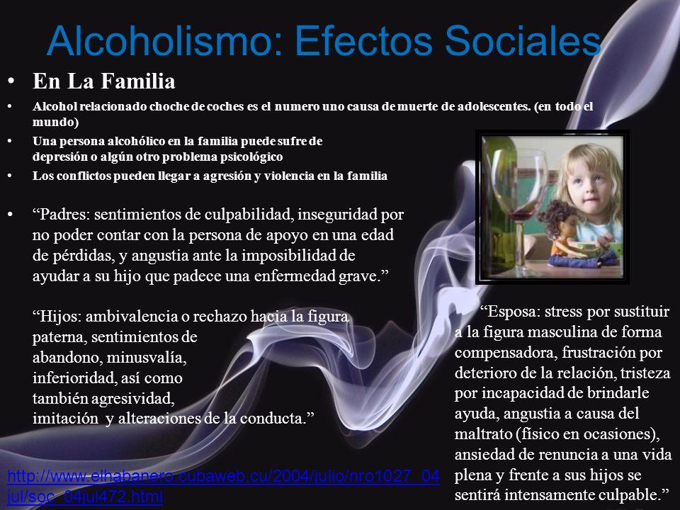 En La Familia Alcohol relacionado choche de coches es el numero uno causa de muerte de adolescentes. (en todo el mundo) Una persona alcohólico en la f