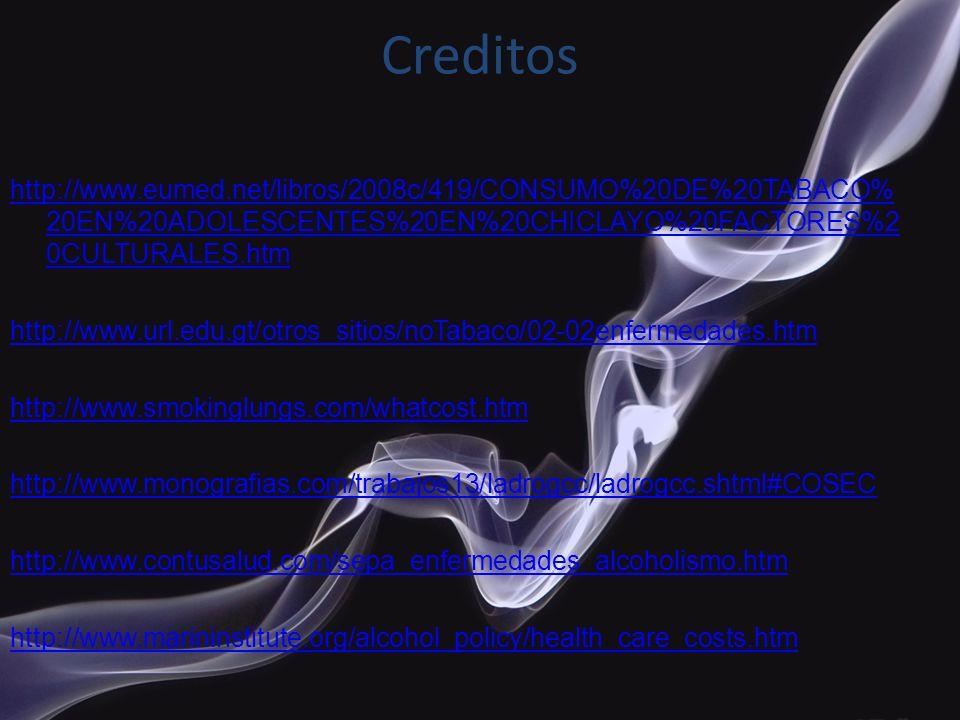 Creditos http://www.eumed.net/libros/2008c/419/CONSUMO%20DE%20TABACO% 20EN%20ADOLESCENTES%20EN%20CHICLAYO%20FACTORES%2 0CULTURALES.htm http://www.url.