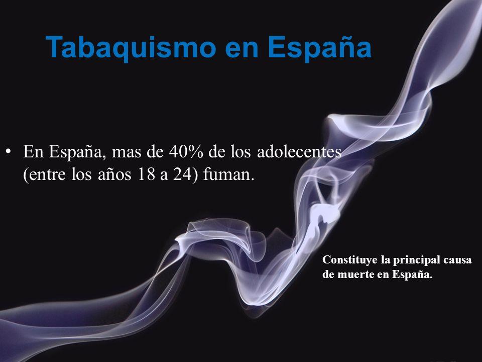 Tabaquismo en España En España, mas de 40% de los adolecentes (entre los años 18 a 24) fuman. Constituye la principal causa de muerte en España.