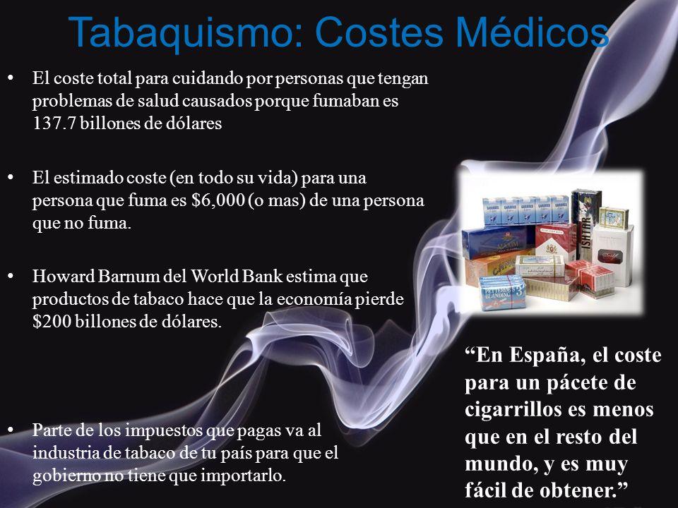 Tabaquismo: Costes Médicos El coste total para cuidando por personas que tengan problemas de salud causados porque fumaban es 137.7 billones de dólare