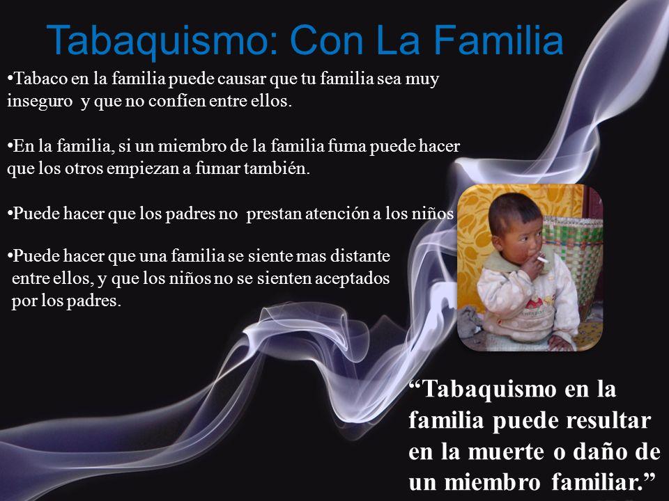 Tabaquismo: Con La Familia Tabaco en la familia puede causar que tu familia sea muy inseguro y que no confíen entre ellos. En la familia, si un miembr