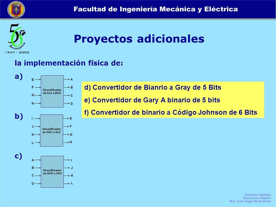 Proyectos adicionales la implementación física de: a) b) c) d) Convertidor de Bianrio a Gray de 5 Bits e) Convertidor de Gary A binario de 5 bits f) C