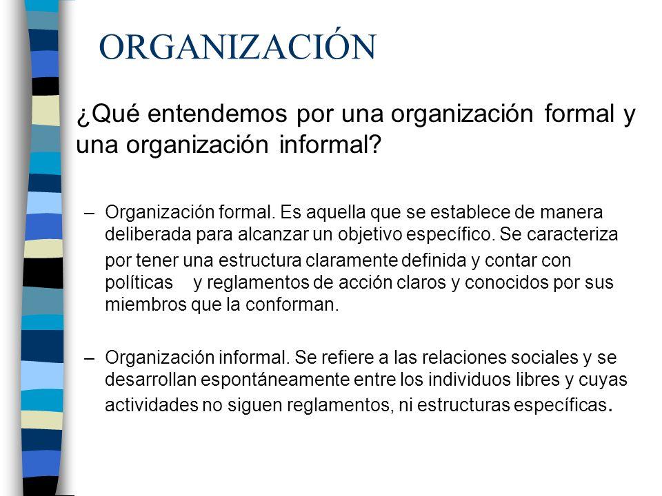 ORGANIZACIÓN ¿Qué entendemos por una organización formal y una organización informal? –Organización formal. Es aquella que se establece de manera deli