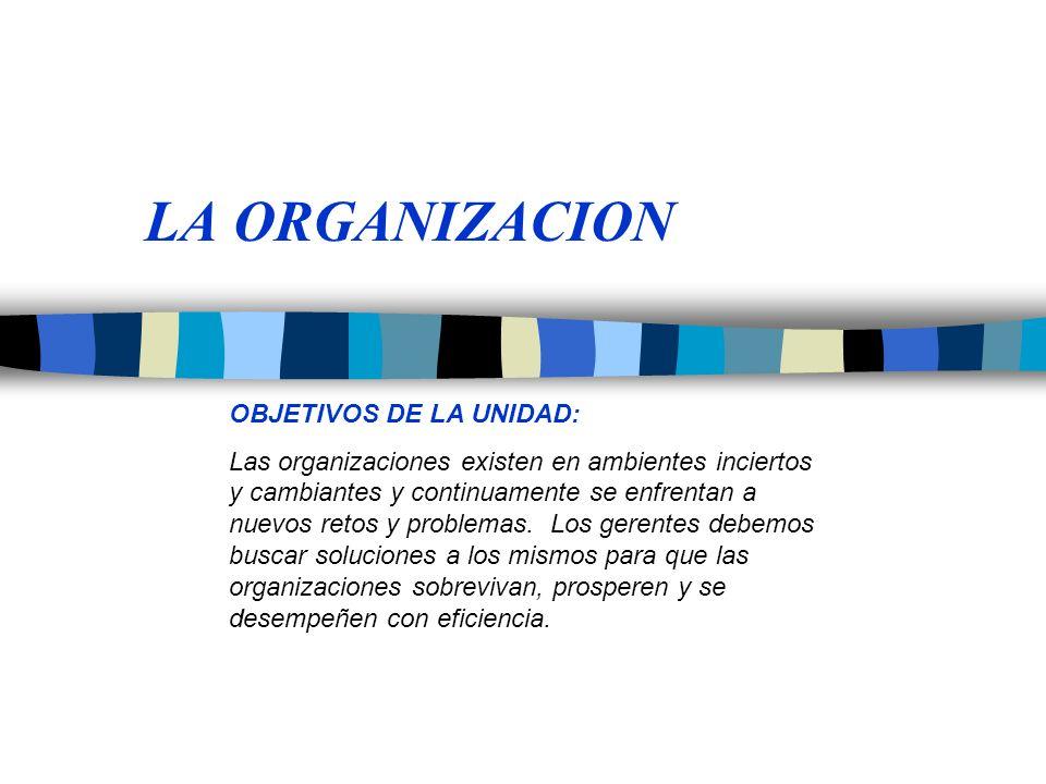 LA ORGANIZACION OBJETIVOS DE LA UNIDAD: Las organizaciones existen en ambientes inciertos y cambiantes y continuamente se enfrentan a nuevos retos y p