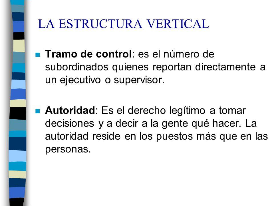 LA ESTRUCTURA VERTICAL n Tramo de control: es el número de subordinados quienes reportan directamente a un ejecutivo o supervisor. n Autoridad: Es el