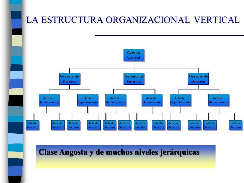 LA ESTRUCTURA ORGANIZACIONAL VERTICAL Clase Angosta y de muchos niveles jerárquicas Gerente General Gerente General Gerente de División Gerente de Div