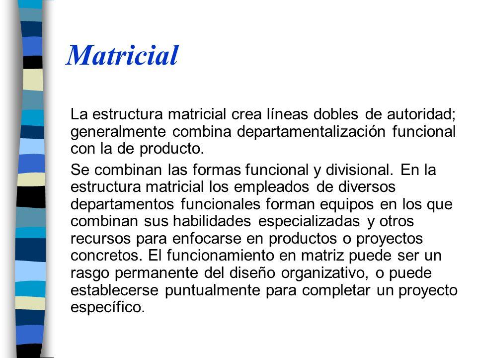 Matricial La estructura matricial crea líneas dobles de autoridad; generalmente combina departamentalización funcional con la de producto. Se combinan