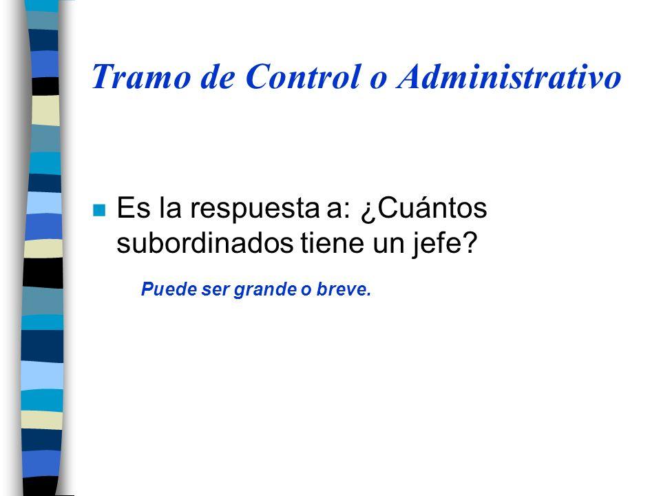 Tramo de Control o Administrativo n Es la respuesta a: ¿Cuántos subordinados tiene un jefe? Puede ser grande o breve.