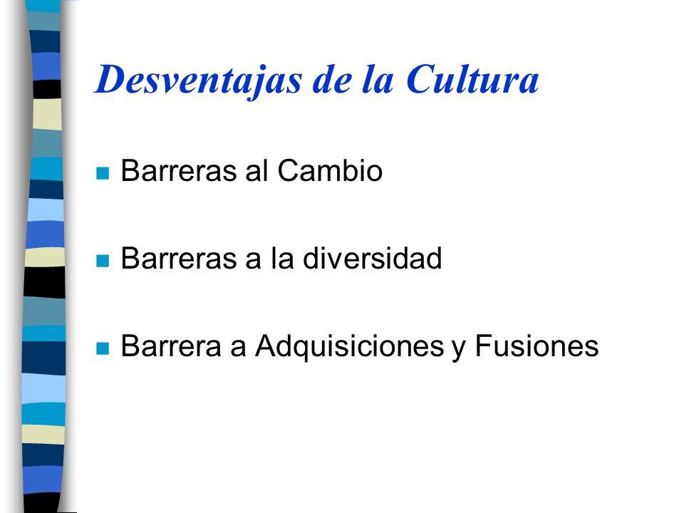 Desventajas de la Cultura n Barreras al Cambio n Barreras a la diversidad n Barrera a Adquisiciones y Fusiones