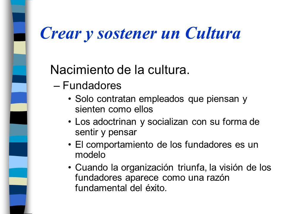 Crear y sostener un Cultura Nacimiento de la cultura. –Fundadores Solo contratan empleados que piensan y sienten como ellos Los adoctrinan y socializa
