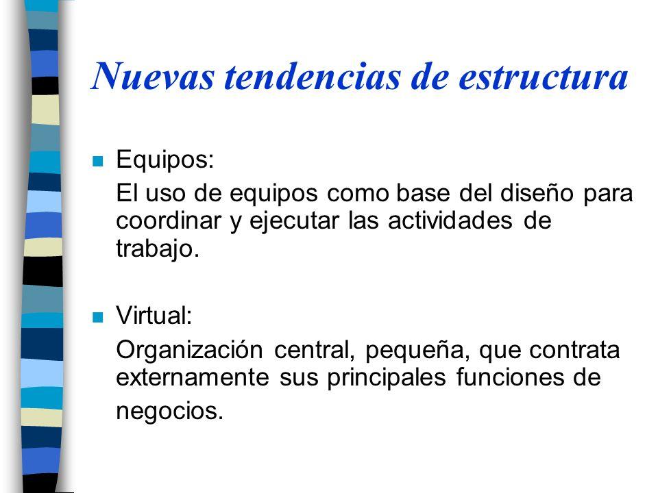 Nuevas tendencias de estructura n Equipos: El uso de equipos como base del diseño para coordinar y ejecutar las actividades de trabajo. n Virtual: Org