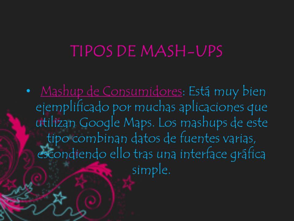 TIPOS DE MASH-UPS Mashup de Consumidores: Está muy bien ejemplificado por muchas aplicaciones que utilizan Google Maps. Los mashups de este tipo combi
