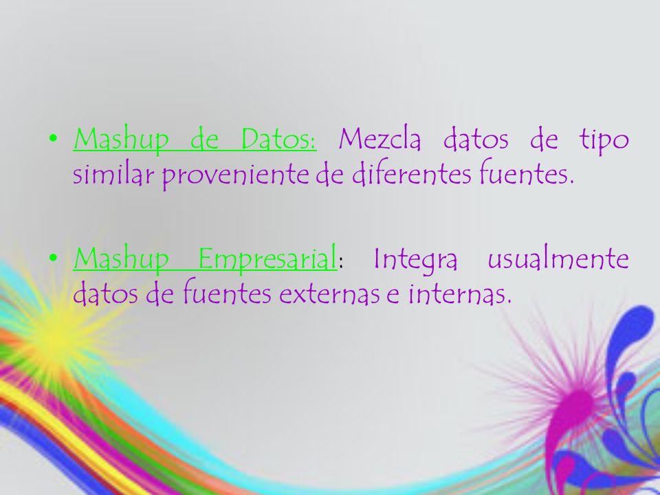 Mashup de Datos: Mezcla datos de tipo similar proveniente de diferentes fuentes. Mashup Empresarial: Integra usualmente datos de fuentes externas e in