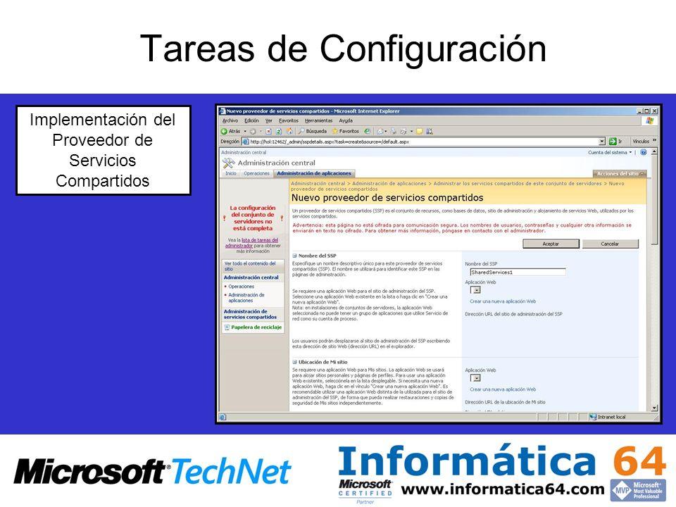 Tareas de Configuración Implementación del Proveedor de Servicios Compartidos