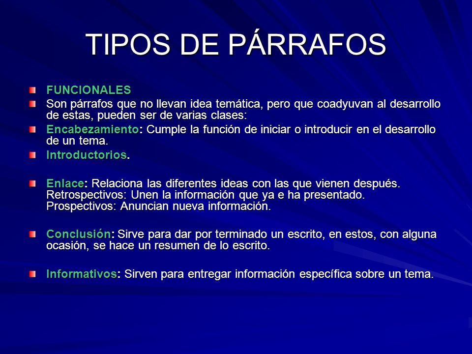 TIPOS DE PÁRRAFOS NORMALES Son los párrafos más frecuentemente usados, se caracterizan por una sola idea temática, la cual se desarrolla mediante vari