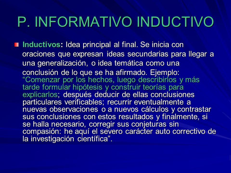 INFORMATIVOS DEDUCTIVOS INFORMATIVOS DEDUCTIVOS Deductivos: Idea principal al inicio. Para su construcción se parte de una generalización para luego p