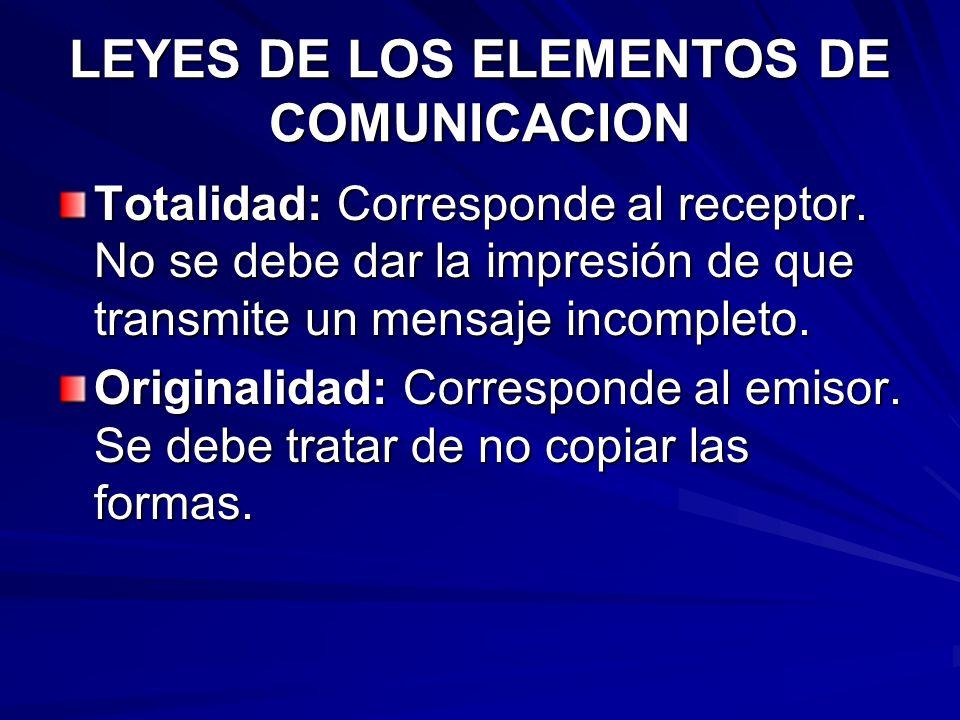 LEYES DE LOS ELEMENTOS DE COMUNICACION Claridad: Corresponde al código. Hay que escribir con un máximo de sencillez para que el código no haga de filt