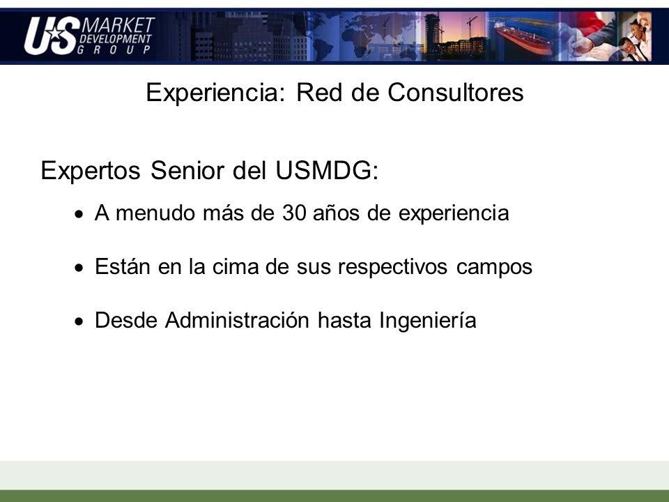 Experiencia: Red de Consultores Expertos Senior del USMDG: A menudo más de 30 años de experiencia Están en la cima de sus respectivos campos Desde Administración hasta Ingeniería