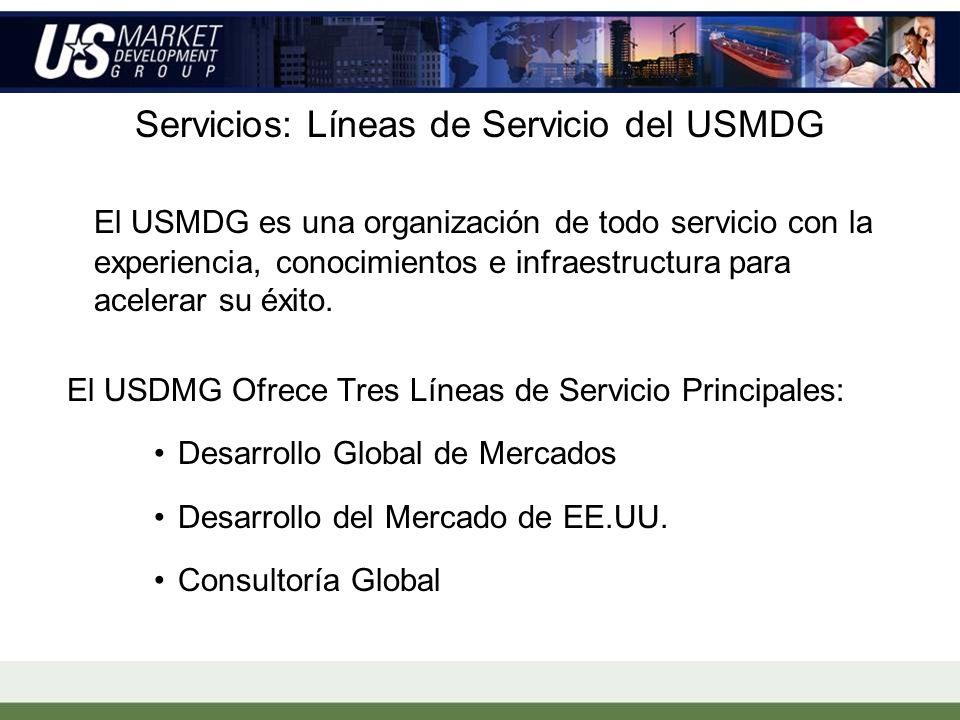 Servicios: Líneas de Servicio del USMDG El USMDG es una organización de todo servicio con la experiencia, conocimientos e infraestructura para acelerar su éxito.