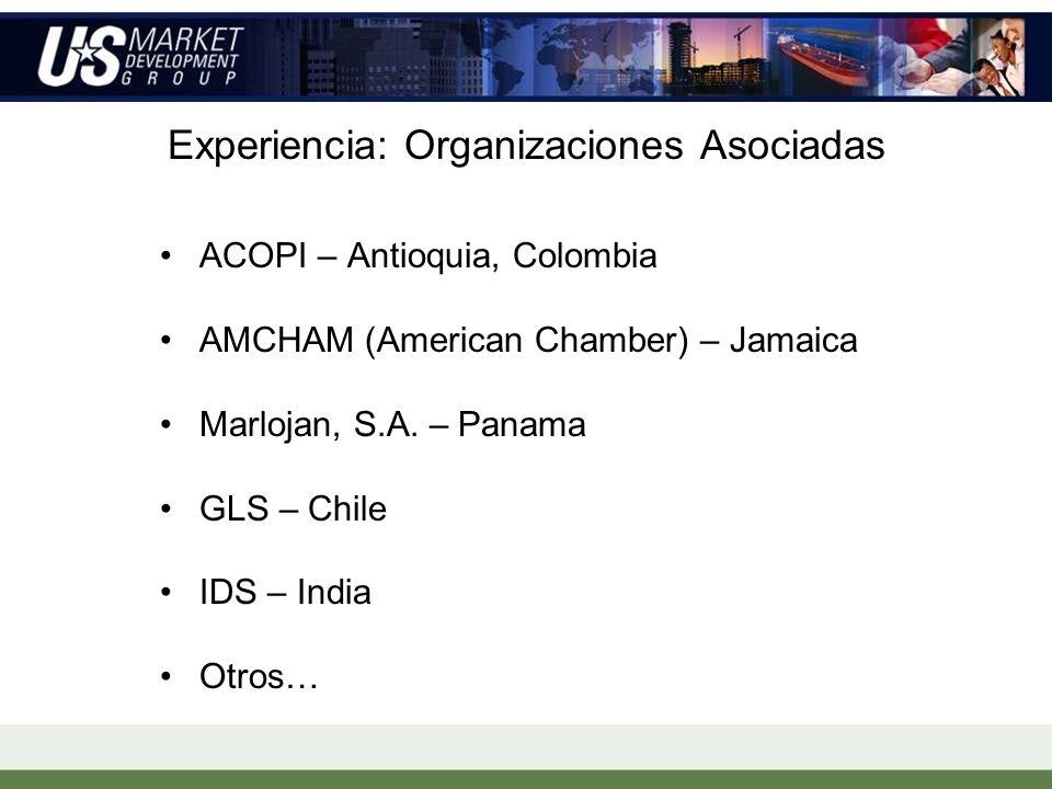 Experiencia: Organizaciones Asociadas ACOPI – Antioquia, Colombia AMCHAM (American Chamber) – Jamaica Marlojan, S.A.