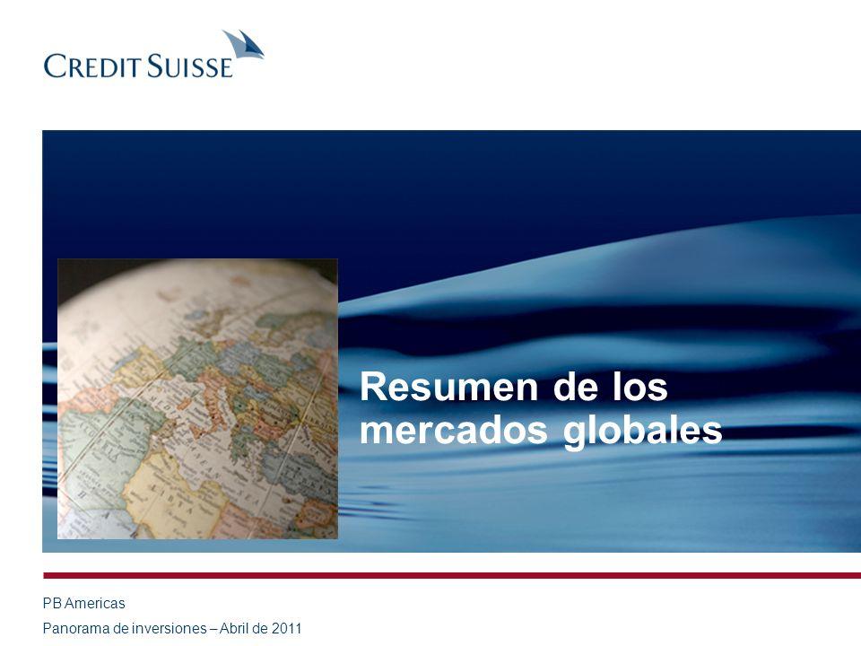 PB Americas Panorama de inversiones – Abril de 2011 Resumen de los mercados globales