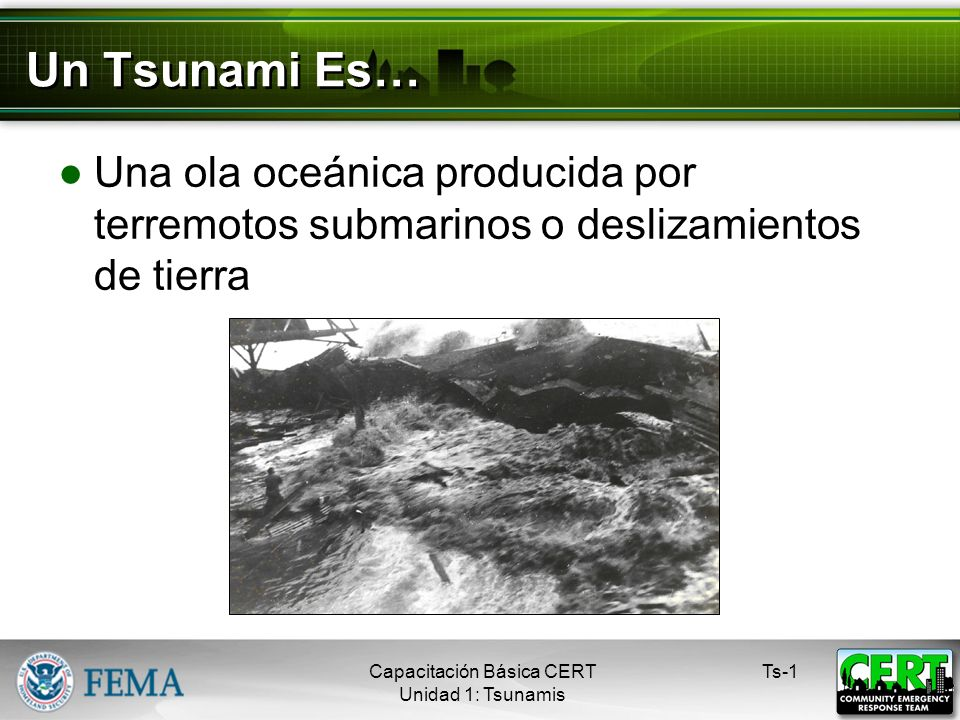 Un Tsunami Es… Una ola oceánica producida por terremotos submarinos o deslizamientos de tierra Ts-1Capacitación Básica CERT Unidad 1: Tsunamis