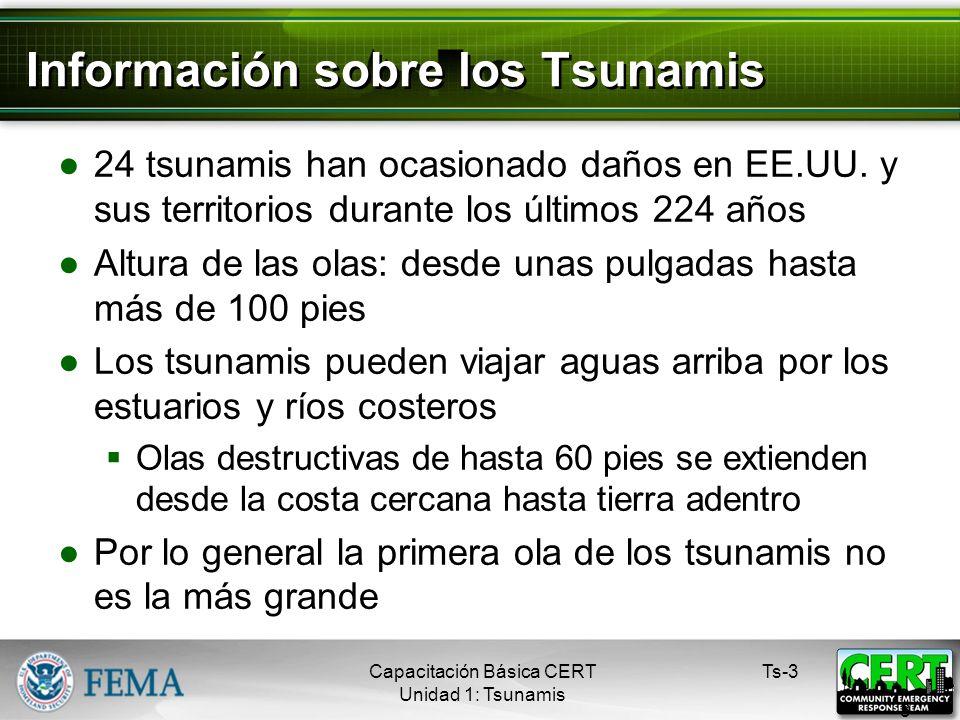 Información sobre los Tsunamis 24 tsunamis han ocasionado daños en EE.UU.