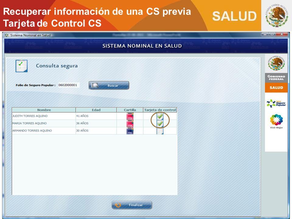 Recuperar información de una CS previa Tarjeta de Control CS