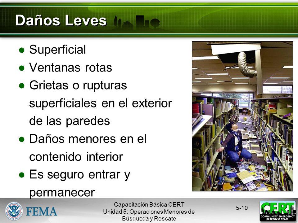 Evaluar y Comunicar los Daños La misión del CERT cambia si: El daño es leve El daño es moderado El daño es grave 5-9 Evaluación: Paso 2 Capacitación B