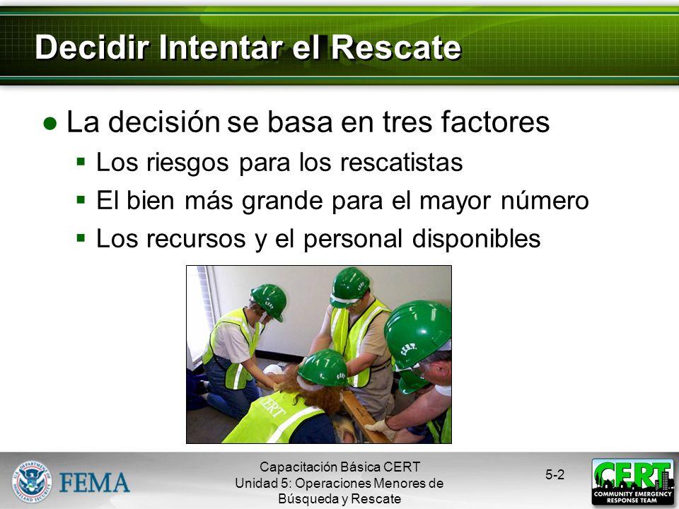 5-2 La decisión se basa en tres factores Los riesgos para los rescatistas El bien más grande para el mayor número Los recursos y el personal disponibles Decidir Intentar el Rescate Capacitación Básica CERT Unidad 5: Operaciones Menores de Búsqueda y Rescate