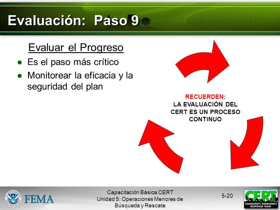 Actuar Basándose en el plan elaborado durante el Paso 7 5-19 Evaluación: Paso 8 Capacitación Básica CERT Unidad 5: Operaciones Menores de Búsqueda y R