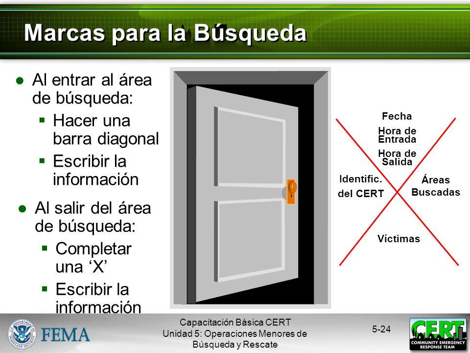 5-23 Vacíos Individuales Espacios donde las víctimas podrían buscar protección Bañeras Bajo los escritorios Dentro de los armarios Bajo las camas o ju