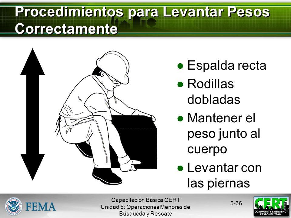 Conocer sus limitaciones Seguir los procedimientos de seguridad Remover los escombros por medio de: Apalancamiento Apuntalamiento 5-35 Precauciones pa