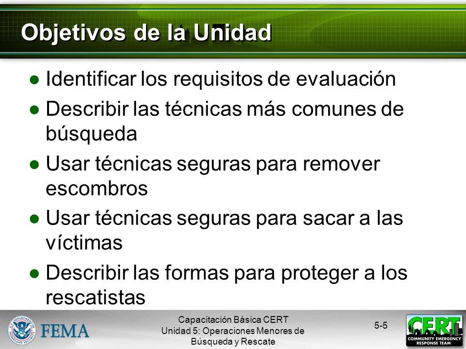 5-4 Depende de: Una evaluación eficaz La seguridad de los rescatistas La seguridad de las víctimas Búsqueda y Rescate Eficaz Capacitación Básica CERT