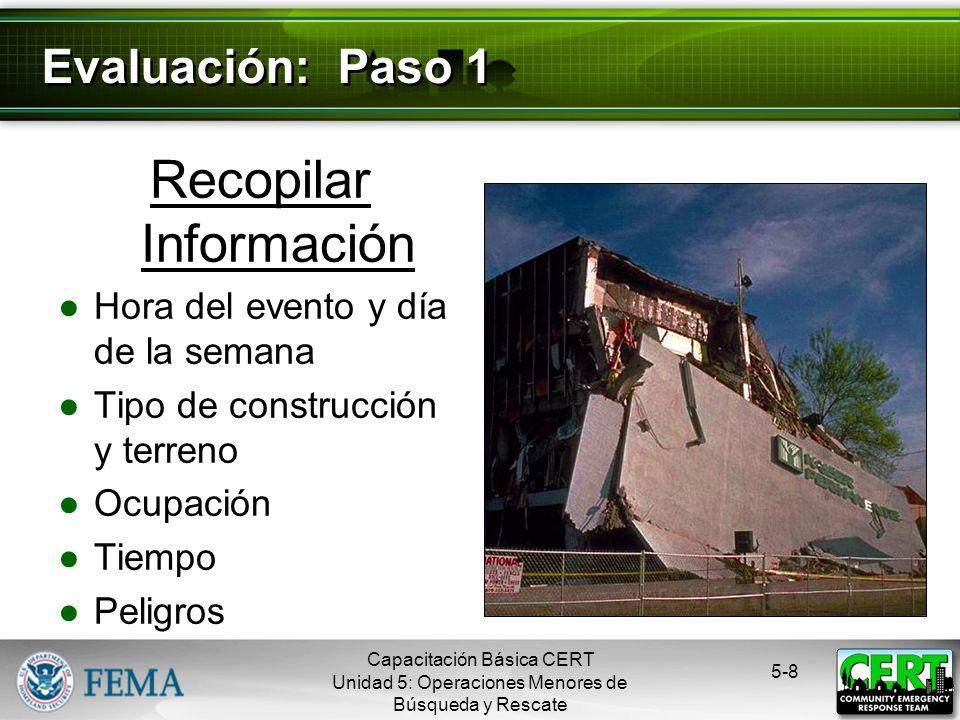 Recopilar Información Hora del evento y día de la semana Tipo de construcción y terreno Ocupación Tiempo Peligros 5-8 Evaluación: Paso 1 Capacitación Básica CERT Unidad 5: Operaciones Menores de Búsqueda y Rescate