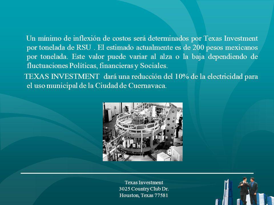El costo de las plantas de Plasma para Estado de Morelos se negociará por Texas Investment, LLC.