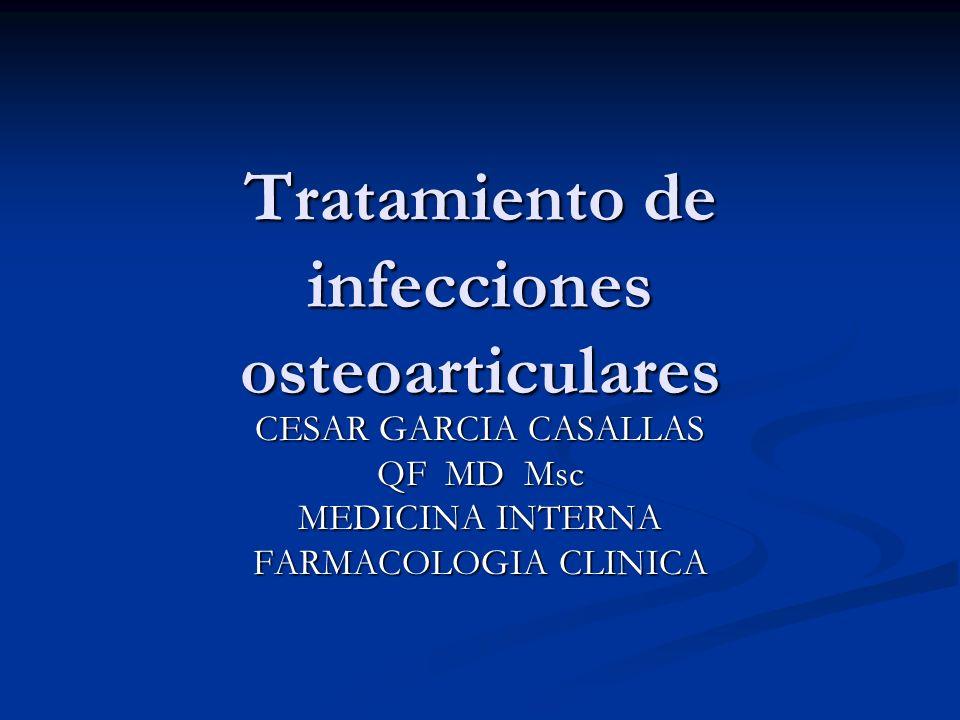 Quinolonas No esta indicada su utilización empírica en las infecciones osteoarticulares (anaerobios, S.