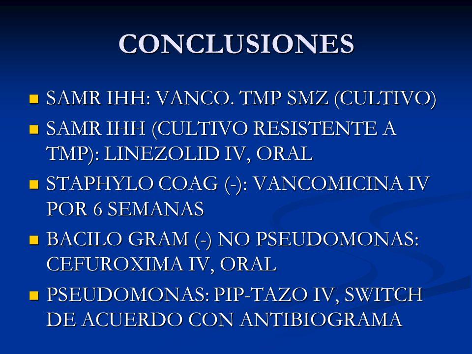 CONCLUSIONES SAMR IHH: VANCO. TMP SMZ (CULTIVO) SAMR IHH: VANCO. TMP SMZ (CULTIVO) SAMR IHH (CULTIVO RESISTENTE A TMP): LINEZOLID IV, ORAL SAMR IHH (C