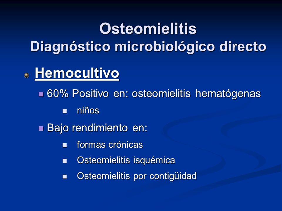 Osteomielitis Diagnóstico microbiológico directo Hemocultivo 60% Positivo en: osteomielitis hematógenas 60% Positivo en: osteomielitis hematógenas niñ