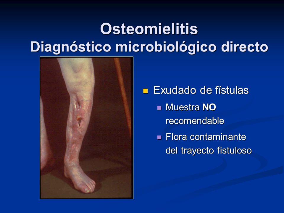 Osteomielitis Diagnóstico microbiológico directo Exudado de fístulas Muestra NO recomendable Flora contaminante del trayecto fistuloso