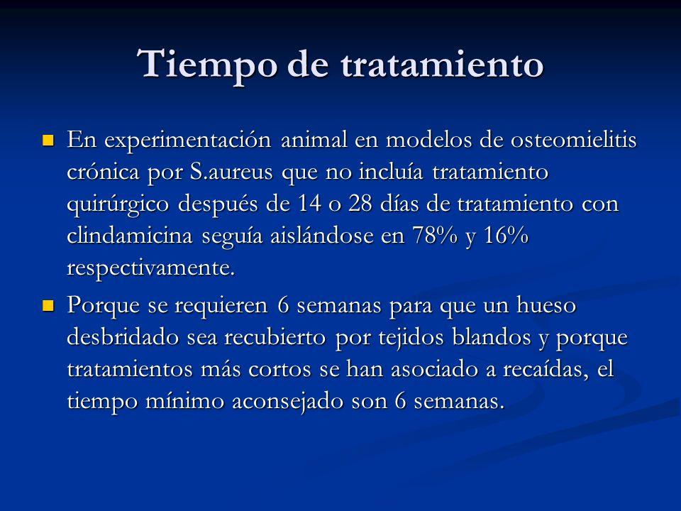 Tiempo de tratamiento En experimentación animal en modelos de osteomielitis crónica por S.aureus que no incluía tratamiento quirúrgico después de 14 o