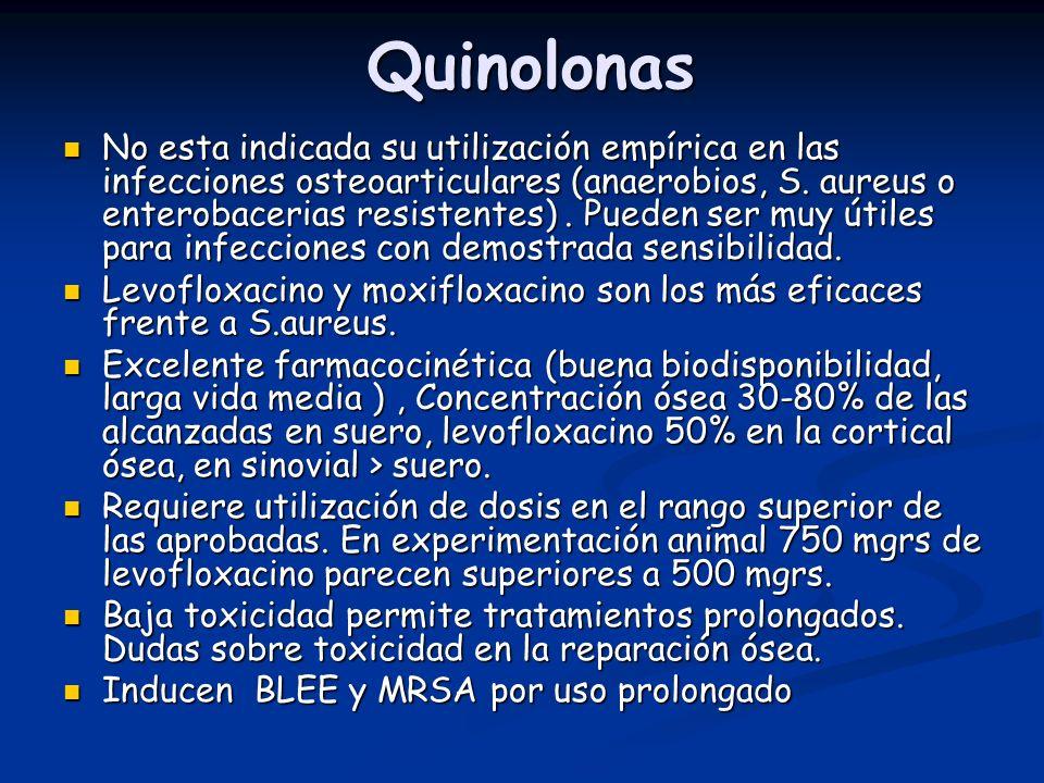 Quinolonas No esta indicada su utilización empírica en las infecciones osteoarticulares (anaerobios, S. aureus o enterobacerias resistentes). Pueden s