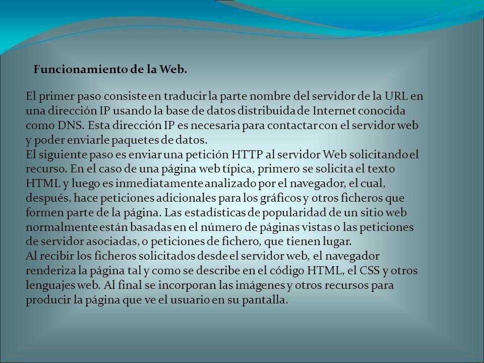 El primer paso consiste en traducir la parte nombre del servidor de la URL en una dirección IP usando la base de datos distribuida de Internet conocida como DNS.