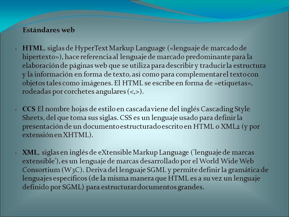 Estándares web HTML, siglas de HyperText Markup Language («lenguaje de marcado de hipertexto»), hace referencia al lenguaje de marcado predominante para la elaboración de páginas web que se utiliza para describir y traducir la estructura y la información en forma de texto, así como para complementar el texto con objetos tales como imágenes.
